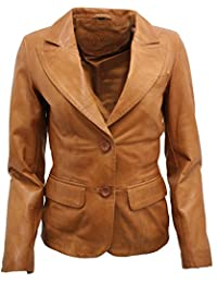 Ladies Casual Tan Leather Blazer Jacket