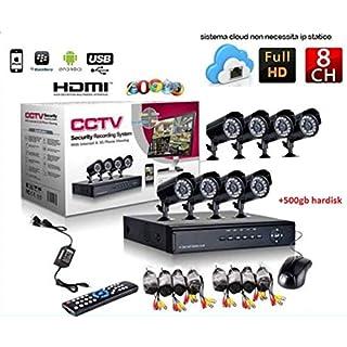 Kit Videoüberwachung H264CCTV 8Kanal Sicherheit IR DVR 8Kanal–8Netzteile–8Power–Hard disk 1TB