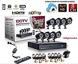 Kit vidéosurveillance H264 8canaux Caméra infrarouge DVR 8blocs d'alimentation 8rallonges Disque dur 1To