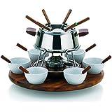 Kela Armata - Juego de fondue, 23 piezas, incluye hornillo, acero, color plateado