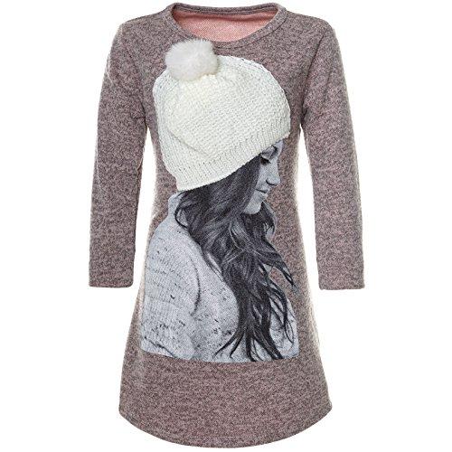 BEZLIT Mädchen PulloverKleid Motiv Druck angenähten Mütze 21581 Rosa Größe 128