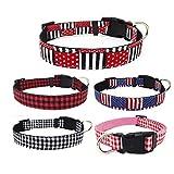 Bbl345dLlo Hundehalsband, bequem, modisch, mit Rasterpunkten, verstellbare Schnalle, Stoff, Hundehalsband, Haustier-Halsband, Deko, Größe S