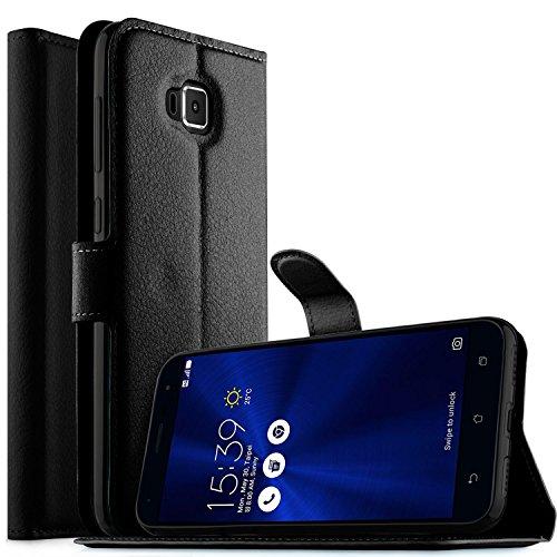 Asus ZenFone 4 Selfie Hülle, KuGi Asus ZenFone 4 Selfie ZD553KL Premium PU-Leder Spezielle Design der Magnetischen Part Case Cover Handyhülle für Asus ZenFone 4 Selfie ZD553KL Smartphone (Schwarz)