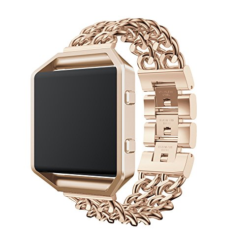 Fitbit Blaze Armband, OverDose Ersatz-Edelstahl Kettenbänder Uhrenarmband Ersatzband mit Metallrahmen für Fitbit Blaze (Khaki, 215mm)