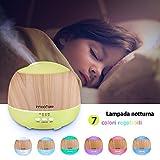 Innoo Tech Aroma Diffuser 500ml Öl Luftbefeuchter Ultraschall Humidifier Holzmaserung LED mit 7 Farben für Babies Kinderzimmer, Auto, Wohnzimmer, Schlafzimmer, Büro, Yoga, Spa, Raum usw - 2