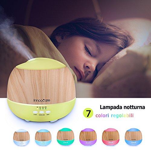 Aroma Diffuser 500ml InnooCare Luftbefeuchter Öl Ultraschall Düfte Humidifier Holzmaserung LED mit 7 Farben für Babies Kinderzimmer Haus, Auto, Wohnzimmer, Schlafzimmer, Büro,