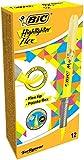 BIC 942040 Textmarker Highlighter Flex, 12 Stück Gelb