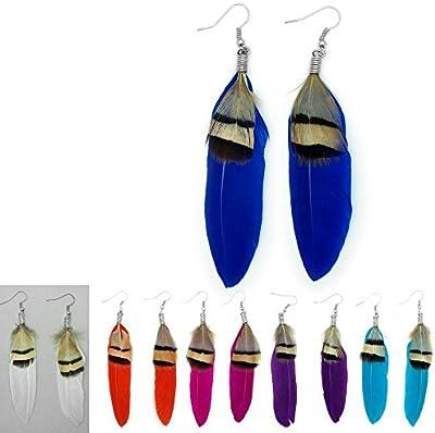 SoulCats® pendientes de plumas de ensueño Hippie pendientes de plumas de color rosa de color azul turquesa púrpura anaranjado blanco