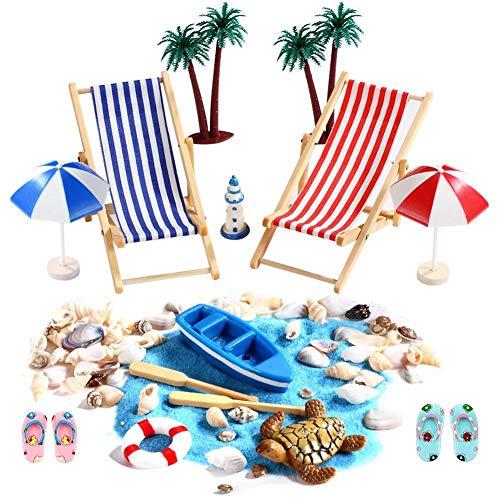 Strand-Mikrolandschaft Miniliegestuhl Strandkorb Sonnenschirm Kleine Palme Deko Accessoires Strand Micro Dollhouse, 15 Stück Miniatur-Ornament-Set für DIY Fee, Garten, Puppenhausdekoration