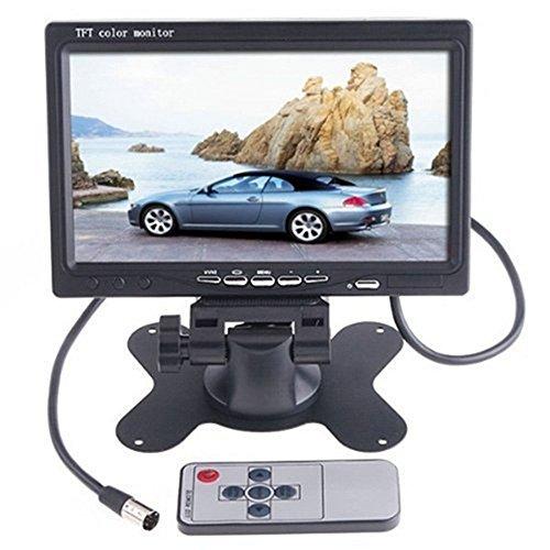 MCTECH 7 inch TFT Farb LCD Monitor mit Einer IR Fernbedienung und 2-Kanal-Videoeingang für Auto Rückfahrkamera, Rückfahrsystem, Einparkhilfe