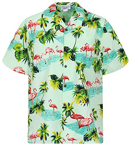 PLA Original Hawaiihemd Flamingo, Türkis, S (70's Disco Kostüm Plus Größe)