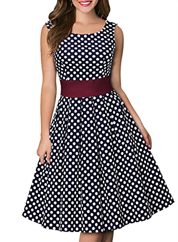 Miusol Damen Elegant Rundhals Traegerkleid 1950er Retro Polka Dots Cocktailkleid Faltenrock Kleid Blau Groesse S - 4