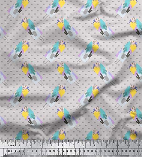 Soimoi Grau Baumwolle Batist Stoff Eiscremecupcakes Lebensmittel gedruckt Craft Fabric 1 Meter 42 Zoll breit