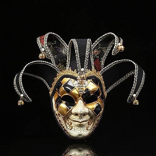 Weiblich Anonym Kostüm - Frauen Mädchen Party Maske Venedig Masken Party Supplies Maskerade Maske Weihnachten Halloween Venezianische Kostüme Karneval Anonym Masken (Color : Black)