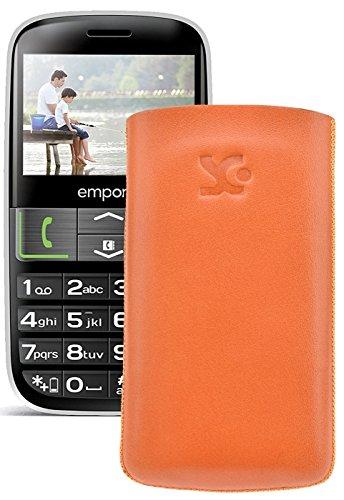 Original Suncase Tasche für / Emporia EUPHORIA V50 / Leder Etui Handytasche Ledertasche Schutzhülle Case Hülle - Lasche mit Rückzugfunktion* In Orange