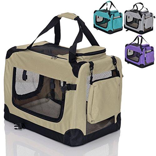 faltbare Hundebox Haustier Transportbox klappbare Autobox 50x35x35 cm gepolstert Katzen Henkel Tragetasche Beige