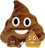 """Emoji con catenina portachiavi & Cuscino morbido a forma di moneta, motivo: Smiley-Portafoglio con Poop supporto finto-Coperta con peluche a forma di smile, Cuscino imbottito, misura grande, motivo: """"Love"""", in confezione regalo, colore: marrone, Decor"""