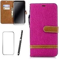 Motorola Moto G6 (2018) Hülle, MISSDU Handyhülle Premium PU Leder Flip Tasche Wallet Case mit Integrierten Kartensteckplätzen [Gifts: Screen Protector, Touch Pen] - Rose Rot