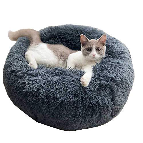 KongEU Rundes Ultra Weicher Plüsch Kuschelkissen für Welpen,Katze,weiches Hundesofa,Kuschel-Nest,Bett für kleine und mittelgroße Hunde und Katzen,waschbar-S:50CM-dunkelgrau