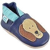 Juicy Bumbles Lauflernschuhe - Krabbelschuhe - Babyhausschuhe - Blauer Rufus Hund 2-3 Jahre (Größe 26)