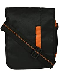 Jugai Women's Sling Bag (Black And Orange, SI010)