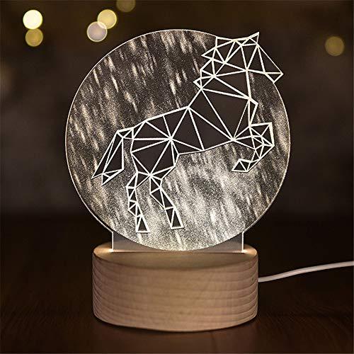 PDDXBB 3D - Einhorn Mond Nachttischlampe Licht Baby Nacht Led - Nachthauptdekor Innen Skulptur Pilot Weiß 21 * 15 cm (Thick Basis Contr? Die Fernbedienung) -