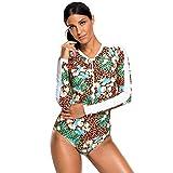 FHTD Frauen-Neuer Bikini-Badeanzug-Lange Hülse Hohe Taille Konservativer Einteiliger Badeanzug mit Kasten-Auflage-Hoher Elastizität-Großer Größen-Schneller Trockener Bikini-Badeanzug,M