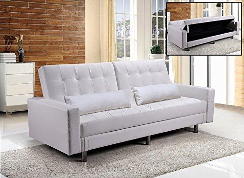 Frizzo divano letto contenitore 220x81cm ecopelle bianco 3 posti reclinabile design moderno cuscini | paola