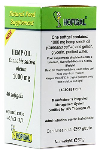 HEMP OIL 1000mg, Cannabis Sativa Oleum, pure cold pressed oil, 40 softgel capsules