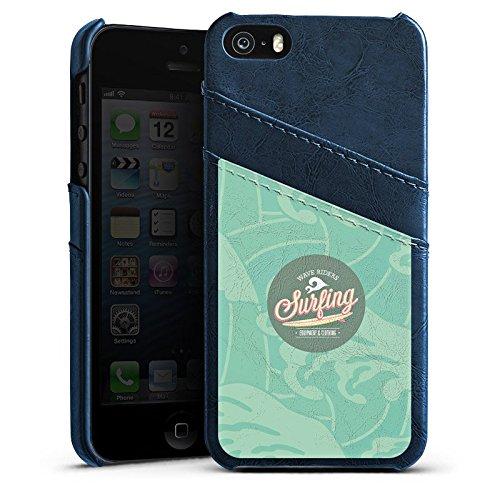 Apple iPhone 5 Housse étui coque protection Surfer Surfeur Été Étui en cuir bleu marine