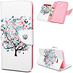 ToneSun J4 Plus 2018 Hülle Case, Leder Filp Wallet Handyhülle Flipcase: Gemalt Multifunktionale Tasche Cover Brieftasche Schutzhülle für Samsung Galaxy J4 Plus 2018 in Farbige Blumen, Kleiner Baum