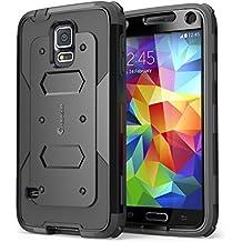 Carcasa para Samsung Galaxy S5 (lanzamiento en 2014), Funda serie i-Blason Armorbox con protector para la pantalla integrada [protección rubusta] con cubierta antigolpes y reductor de impactos (Negro)