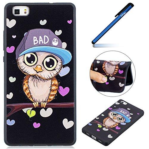 Ysimee Coque Huawei P8 Lite, Housse Étui Silicone Noir pour Huawei P8 Lite avec Motifs Mignons Chat Panda Dessin Souple Soft Touch Skin Mince TPU Coque de Protection pour Huawei P8 Lite,Hibou
