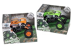Kidz Corner Coche Graffiti Off-Road vehículo con Amortiguadores, Color Verde/Naranja, 439679