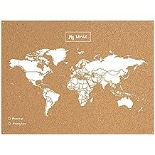 Miss Wood Map XL - Mapa del mundo de corcho, color blanco