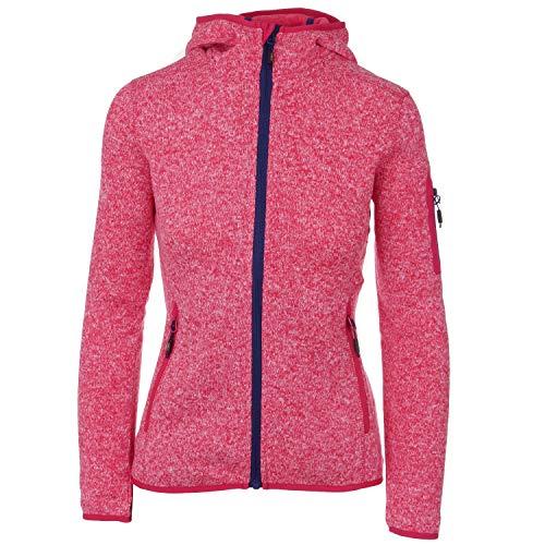 Strickfleecejacke Damen CMP Outdoor Fleecejacke dünn Sweatjacke mit Kapuze Strickjacke große Größen Kiara II, Größe:44, Farbe:Ibisco-B-inchiostro