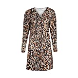 Hibote Button Leopardenmuster Lange Strickjacken Mantel Casual Langarm V-Ausschnitt Schlanke Frauen Sexy Mode Mantel Outwear Top Leopard S
