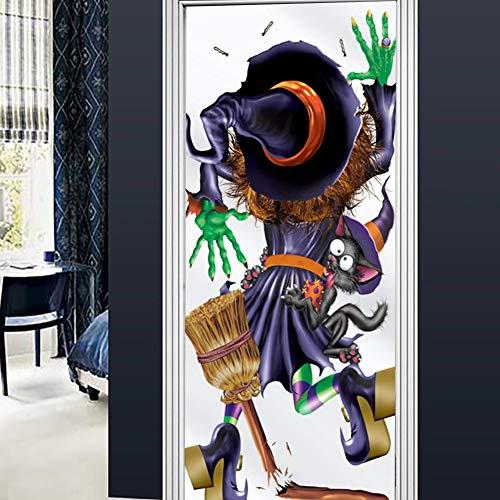 Li-shan Happy Halloween 3D tür tapeten wandbilder wandaufkleber Selbstklebende Vinyl abnehmbare Kunst tür Aufkleber DIY wohnkultur Poster Dekoration, gruselig - Machen Sie Eine Gruselige Puppe Kostüm