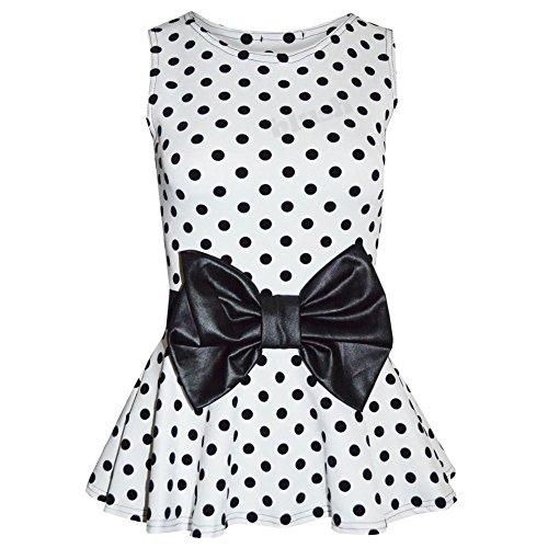 Trendy-Clothings Haut péplum Patineus'avec nœud à pois pour femme Motif léopard Jaune - Crème