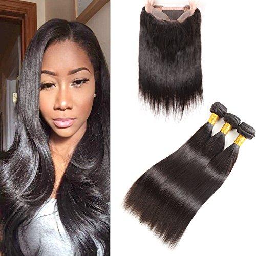 Huarisi 360 Frontal mit Bündel gerades menschliches Haar Lace Schließung 100% unverarbeitetes Brasilianisches Jungfrau Haar Verlängerungen Schuß natürliche Farbe 16 18 20 + 14(360)