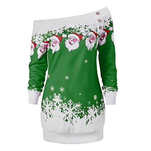 OverDose Damen Frohe Weihnachten Santa Snowflake Print Off Schulter Tops Pullover Langarm lange Bluse Shirt kleid(EU38,A-Grün)