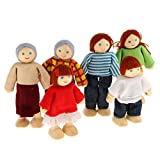 MagiDeal 7 Personen Familie Puppen Biegepuppen aus Holz & Stoff für Kinder Puppenhaus Spielzeug, Inkl. Vater, Mutter, Opa, Oma, ältere Schwester und jüngeren Bruder