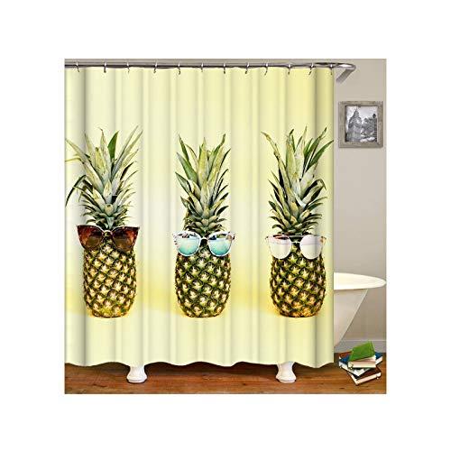 AmDxD Duschvorhang aus Polyester| 3D-Druck Ananas Tragen Sonnebrille Muster Design Badewanne Vorhang Badewannenvorhang | Hell Grün | mit 12 Duschvorhangringen für Badewanne Badezimmer - 180x180CM