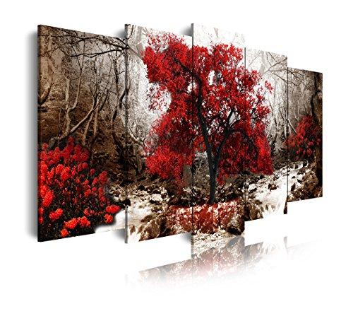 DEKOARTE modernes Wandbild 5-teilig mit Design Natur Landschaft mit Baum, Stoff, Rot und Ocker, 150x 3x 80cm