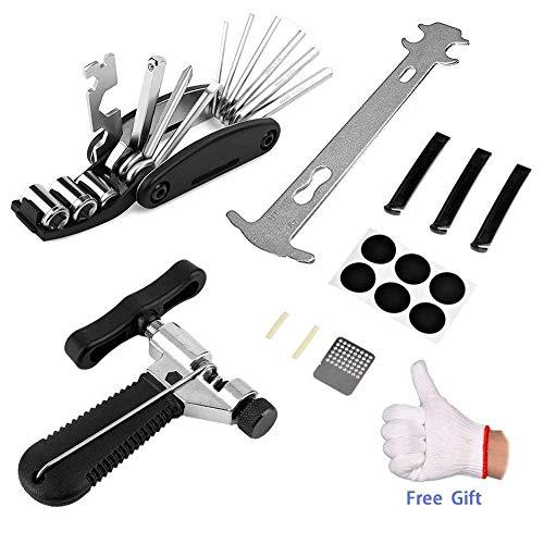 Sinwind Fahrrad Reparatur Set, Fahrrad Werkzeug Set Fahrrad-Multitool Reparieren Werkzeug (16 in 1 Multifunktionswerkzeug + Kettennieter + Kette Checker + Selbstklebendes Fahrrad Flicken)