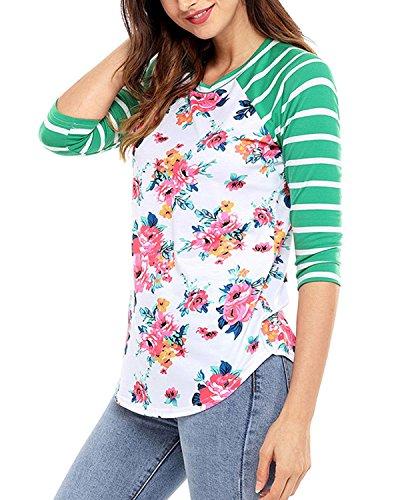 LAMEZI LANISEN Damen Mädchen Langarm Rundhals Blumen Shirt Blusen Oberteil S-2XL Grün
