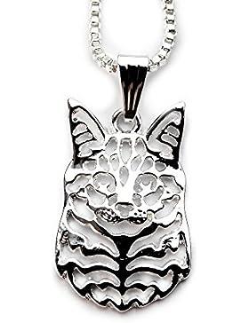 Miss–E–Jewels TM versilbert Little Maine Coon Katze filligre Anhänger Halskette 45,7cm (in Satin Tasche)...