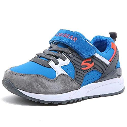 HOBIBEAR Jungen Turnschuhe Kinder Klettverschluss Sneaker Hallenschuhe Sportschuhe Outdoor Laufschuhe fur Unisex-Kinder , Blau - 29 EU (CN 30)