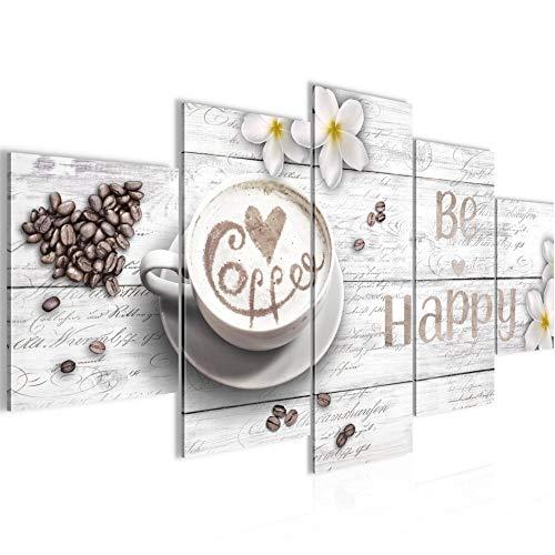 Bilder Küche Kaffee Wandbild 200 x 100 cm Vlies - Leinwand Bild XXL Format Wandbilder Wohnzimmer Wohnung Deko Kunstdrucke Weiß 5 Teilig - MADE IN GERMANY - Fertig zum Aufhängen 020651c
