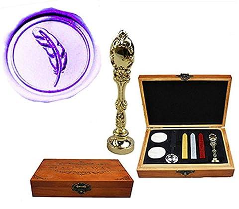 MNYR Luxury Feather Sealing Wax Seal Stamp Vintage Custom Picture Logo Monogram Wedding invitations Wax Sealing Stamp Gold Metal Peacock Handle Sticks Spoon Wood Gift Box Set